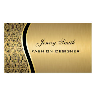 Glamorous elegant luxury golden damask Double-Sided standard business cards (Pack of 100)