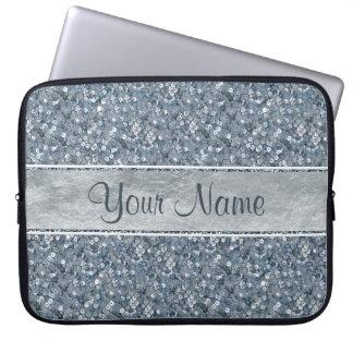 Glamorous Faux Blue Sequins Silver Foil Glitter Laptop Sleeve