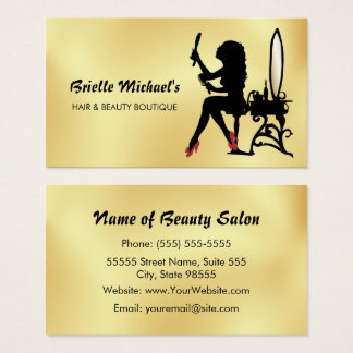 Glamorous Faux Gold and Black Woman Hair Boutique Business Card