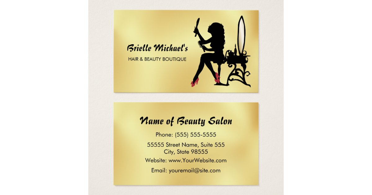 Glamorous Faux Gold and Black Woman Hair Boutique Business Card ...