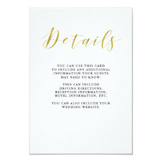 Glamorous Faux Gold Classic Wedding Guest Details Card