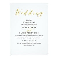 Glamorous Faux Gold Classic Wedding Invitation