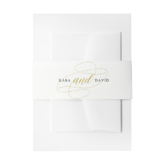 Glamorous Faux Gold Classic Wedding Invitation Belly Band