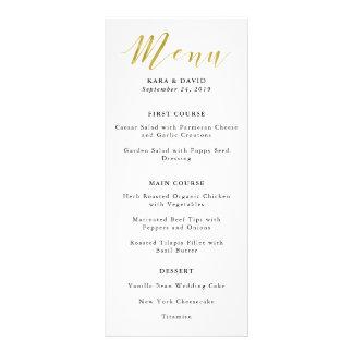 Glamorous Faux Gold Classic Wedding Menu
