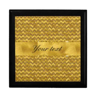 Glamorous Faux Gold Glitter Chevrons Gift Box