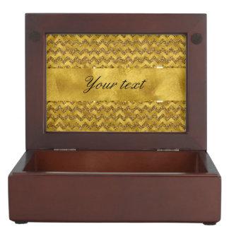 Glamorous Faux Gold Glitter Chevrons Memory Box
