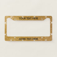 Glamorous Faux Gold Glitter License Plate Frame at Zazzle