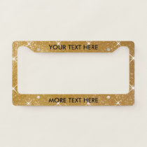Glamorous faux gold glitter license plate frame