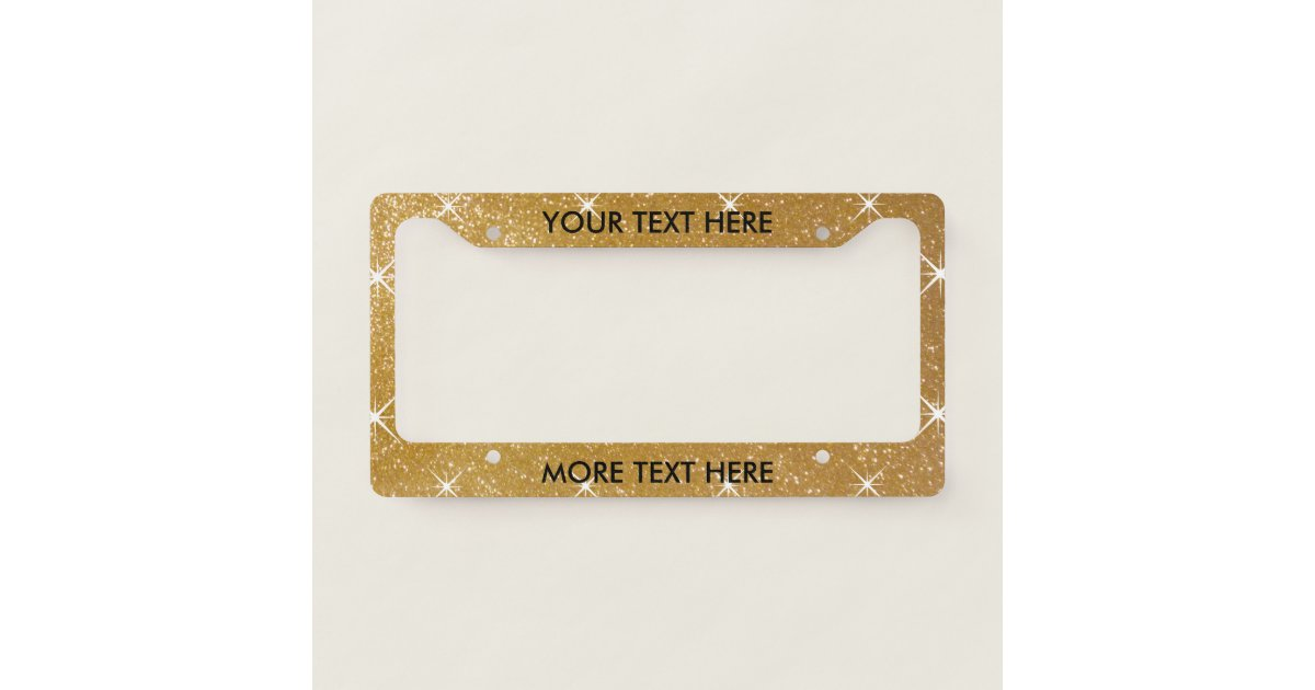 Glamorous faux gold glitter license plate frame | Zazzle.com