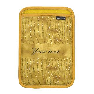 Glamorous Faux Gold Glitter Zebra Stripes iPad Mini Sleeves