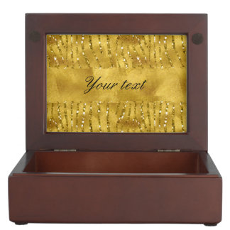 Glamorous Faux Gold Glitter Zebra Stripes Keepsake Box