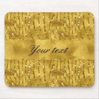 Glamorous Faux Gold Glitter Zebra Stripes Mouse Pad