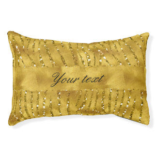 Glamorous Faux Gold Glitter Zebra Stripes Pet Bed