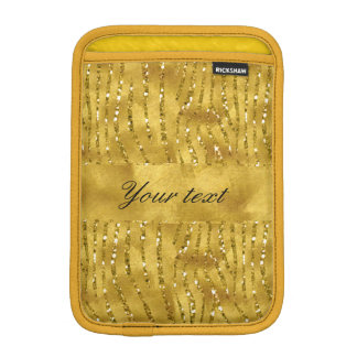 Glamorous Faux Gold Glitter Zebra Stripes Sleeve For iPad Mini