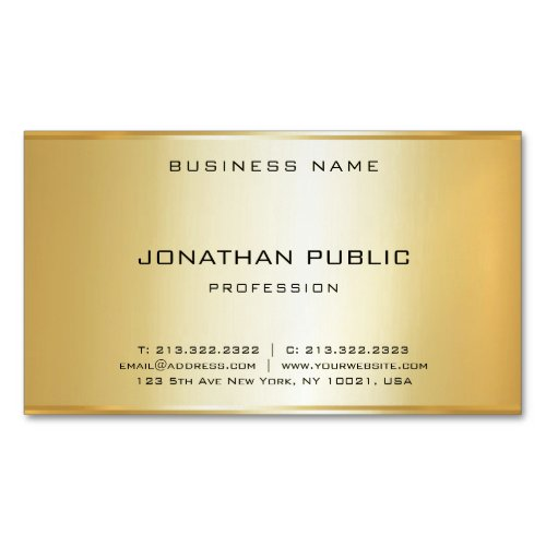Glamorous Faux Gold Modern Elegant Simple Template Business Card Magnet