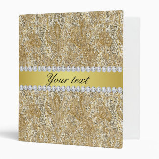 Glamorous Faux Gold Sequins and Diamonds 3 Ring Binder