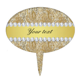 Glamorous Faux Gold Sequins and Diamonds Cake Topper