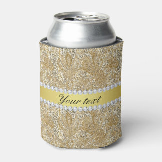 Glamorous Faux Gold Sequins and Diamonds Can Cooler