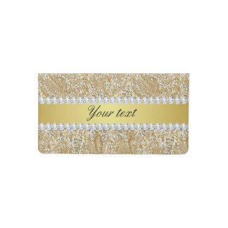 Glamorous Faux Gold Sequins and Diamonds Checkbook Cover