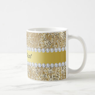 Glamorous Faux Gold Sequins and Diamonds Coffee Mug