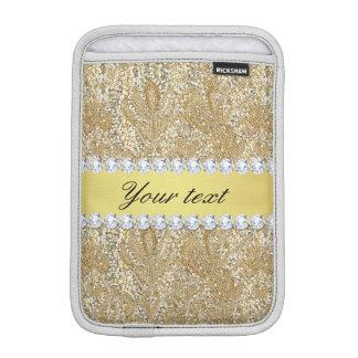 Glamorous Faux Gold Sequins and Diamonds iPad Mini Sleeve