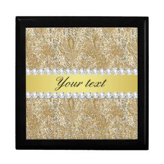 Glamorous Faux Gold Sequins and Diamonds Keepsake Box