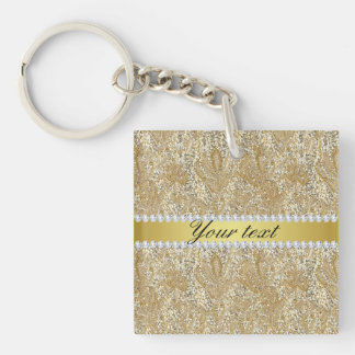 Glamorous Faux Gold Sequins and Diamonds Keychain