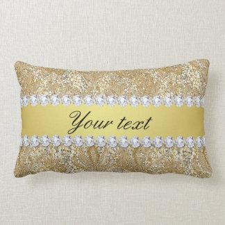 Glamorous Faux Gold Sequins and Diamonds Lumbar Pillow