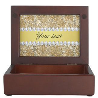 Glamorous Faux Gold Sequins and Diamonds Memory Box
