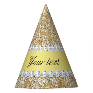 Glamorous Faux Gold Sequins and Diamonds Party Hat