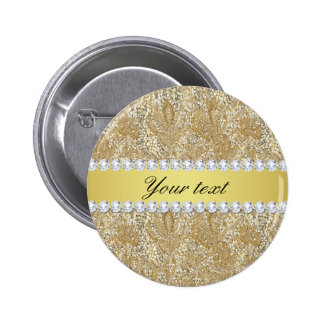 Glamorous Faux Gold Sequins and Diamonds Pinback Button