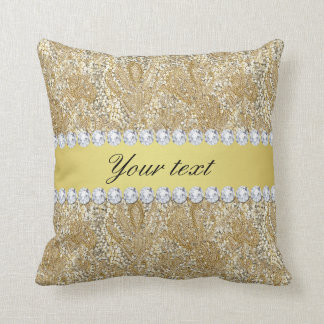 Glamorous Faux Gold Sequins and Diamonds Throw Pillow