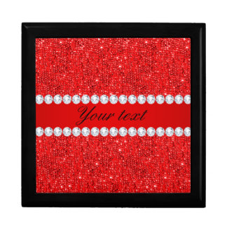 Glamorous Faux Red Sequins and Diamonds Keepsake Box