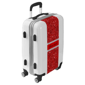 Glamorous Faux Red Sequins and Diamonds Luggage