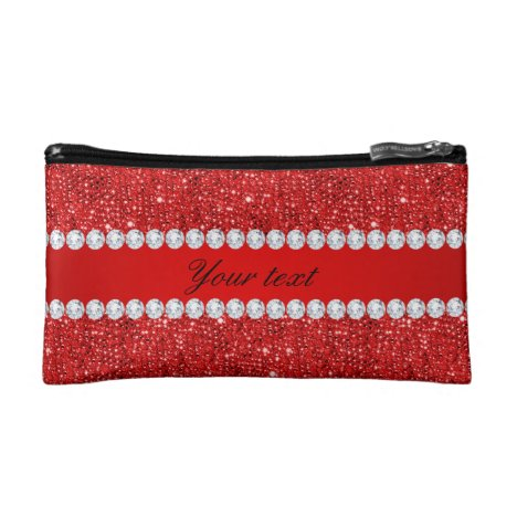 Glamorous Faux Red Sequins and Diamonds Makeup Bag