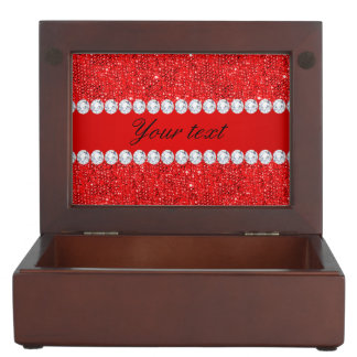 Glamorous Faux Red Sequins and Diamonds Memory Box