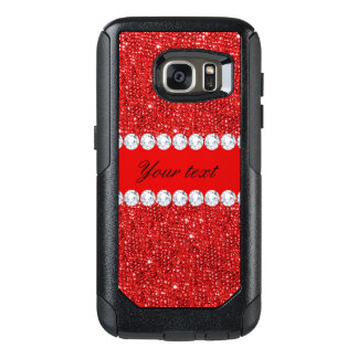 Glamorous Faux Red Sequins and Diamonds OtterBox Samsung Galaxy S7 Case