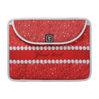 Glamorous Faux Red Sequins and Diamonds Sleeve For MacBooks