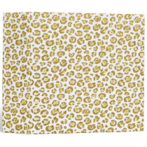 Glamorous Faux Sparkly Gold Leopard Binder