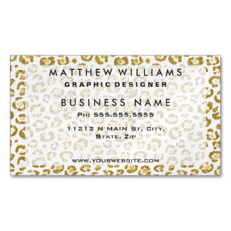 Glamorous Faux Sparkly Gold Leopard Business Card Magnet