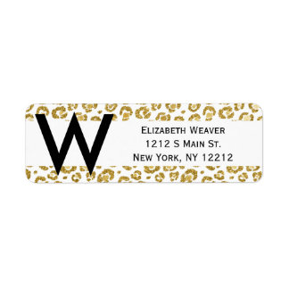 Glamorous Faux Sparkly Gold Leopard Label