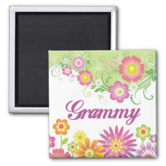 Glamorous flowers Grammy 2 Inch Square Magnet