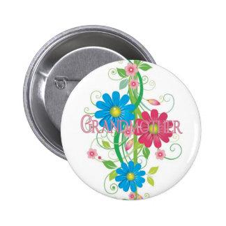 Glamorous flowers Grandmother Pinback Button