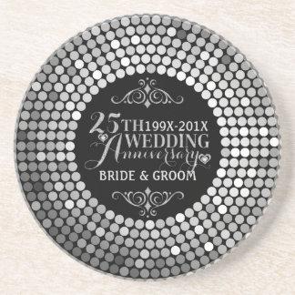 Glamorous Glitter 25th Wedding Anniversary 2 Beverage Coaster