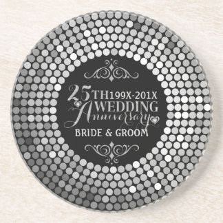 Glamorous Glitter 25th Wedding Anniversary 2 Sandstone Coaster