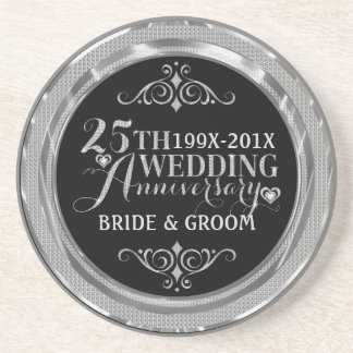 Glamorous Glitter 25th Wedding Anniversary Pattern Coaster