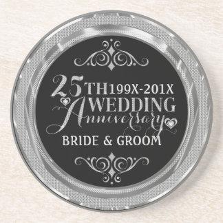 Glamorous Glitter 25th Wedding Anniversary Pattern Drink Coaster