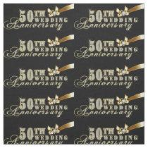 Glamorous Glitter 50th Wedding Anniversary Pattern Fabric