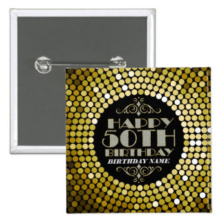 Glamorous Glitter Happy 50th Birthday 2 Pinback Button