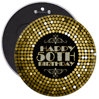 Glamorous Glitter Happy 50th Birthday Button